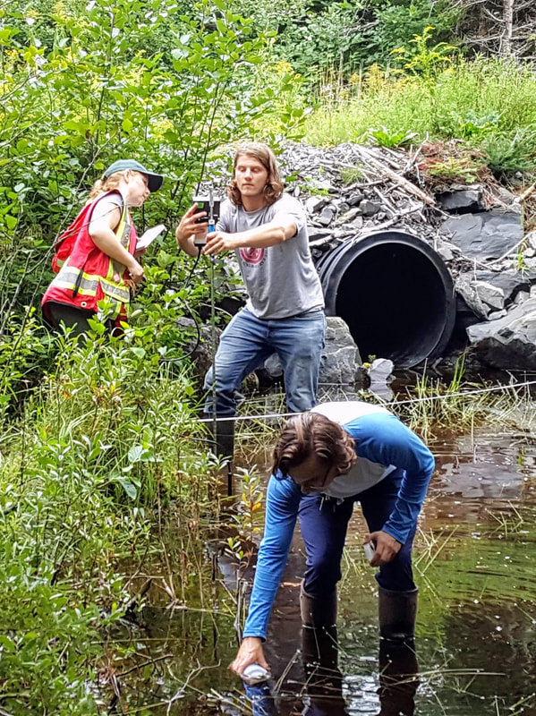 A group of students takes water quality measurements