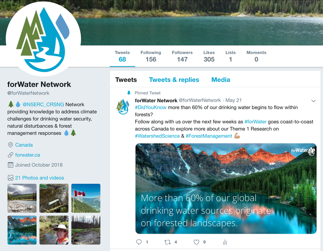Screenshot of the forWater Twitter page
